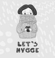 lets hygge card monochrome girl in sweater vector image vector image