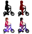 little girl riding bicycle vector image vector image