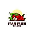 logo fresh farm mascot colorful style vector image