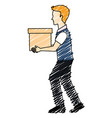 man with carton box packing icon vector image vector image