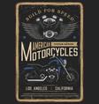 motorcycle poster vintage biker moto chopper bike vector image vector image