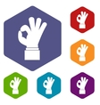 Ok gesture icons set vector image vector image