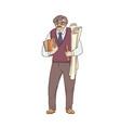 older male pedagogue professor or designer of vector image