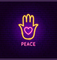 peace neon label vector image vector image