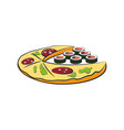 pizza and sushi cartoon vector image vector image