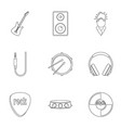 rock icon set outline style vector image