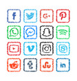scribble social media icon template vector image