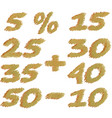 set different numbers discounts pencil vector image vector image