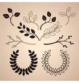 Set of Decorative Vintage Branches and Wreathes vector image