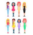 set of shopaholic girls stylish dresses and jeans vector image vector image