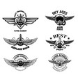 set vintage airplane show emblems design vector image vector image