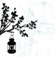 silhouette a branch tree with street light vector image vector image