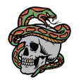 skull with snake colorful tattoo concept vector image vector image