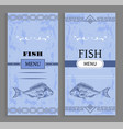 template of fish menu cover with fishery icon vector image vector image