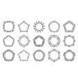 text frame monogram hexagon circle art set vector image