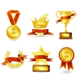 Trophy and prize emblem vector image vector image