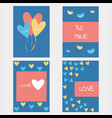 valentine or romantic love day concept design set vector image