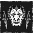 vampire head and two ritual knives on dark vector image vector image