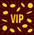 vip golden text flying dollar sign gold coin rain vector image vector image
