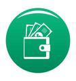 wallet icon green vector image vector image