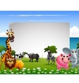 funny animal cartoon collection with blank sign an vector image