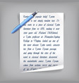 pen and paper with text vector image