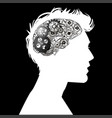 head of a man with brain mechanism vector image