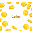 3d realistic gold coins set on white in different vector image vector image