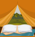 background interior camping tent with pad and vector image