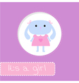 bashower card with bunny its a girl vector image vector image