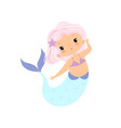 beautiful little mermaid with pink hair cute sea vector image vector image