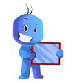 blue cartoon caracter holding a tablet on white vector image vector image