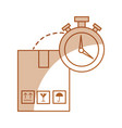 box carton with chronometer watch isolated icon vector image vector image