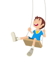 Boy Playing On A Swing vector image vector image