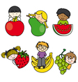 Children with fruits vector image vector image