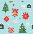 christmas pattern with cute decorated christmas vector image vector image