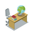 classroom desk with textbook isometric icon vector image vector image