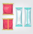 colored branded foil food packages set vector image vector image