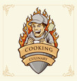 cooking man chef smile with ribbon vector image
