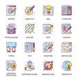 copyrighting work flat icons set vector image