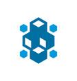 cube block technology logo vector image vector image