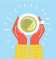 cup tea in hands brewed herbal tea with lemon vector image vector image