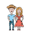 cute brazilian couple with hat and typical clothes vector image vector image