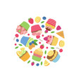 cute cartoon muffins or cupcakes in circle vector image vector image