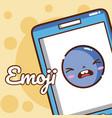 cute emoji smartphone vector image vector image