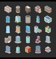 different buildings icons pack vector image vector image