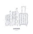 digital polygonal hand drawing luggage vector image