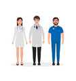 doctors dressed in medical uniform two men and vector image vector image