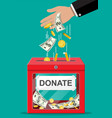donation box with golden coins dollar banknotes vector image vector image