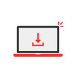 download arrow in red laptop on white vector image vector image
